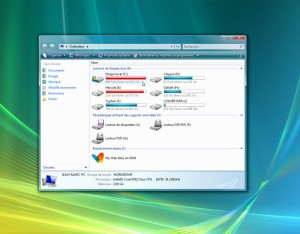 Windows vous renseigne au premier coup d'oeil sur l'espace de stockage libre
