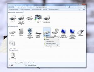 L'outils Périphériques et imprimante de Windows 7