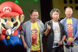 Takashi Tezuka, Shigeru Miyamoto et Koji Kondo, en 2015