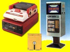 Le Famicom Disk System, sa disquette de 112 Ko et le Disk Writer, en 1986