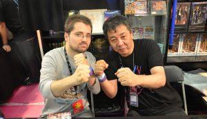 Yoshihisa Kishimoto et Florent Gorges, l'auteur de sa biographie parue chez Pix'n Love en 2012