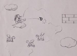 On envisage tout d'abord Mario sur un nuage, lançant des lasers ou des boules de feu