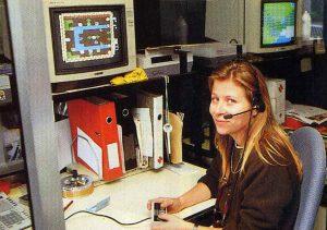 """Claire Saunois, conseillère chez Bandai France, en 1990. Elle deviendra ensuite rédactrice en chef adjointe de Nintendo Player, en 1992, sous le pseudonyme """"Yoda"""""""