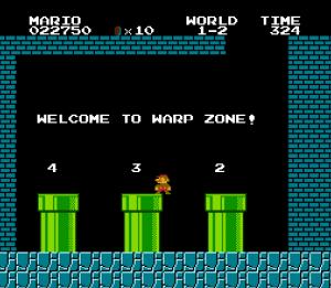 """Super Mario Bros. introduit aussi le concept des """"warp zones"""", pour récompenser les joueurs expérimentés"""