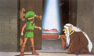 Impa présente à Link la princesse Zelda plongée dans un sommeil éternel