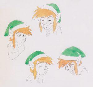 Crayonnés pour la recherche du personnage de Link adolescent