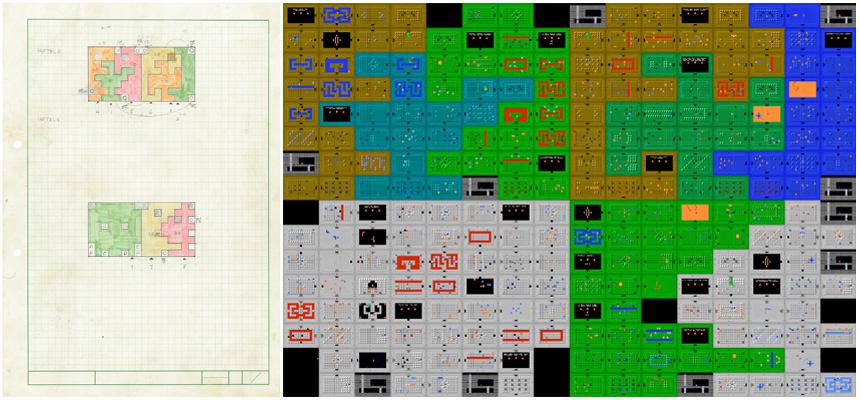 """Le plan de Tezuka des donjons qui """"s'emboîtent"""" (à gauche), et le résultat (à droite)"""