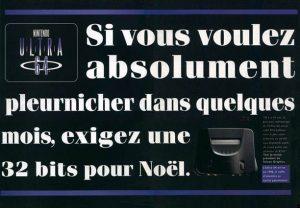 Les publicités annonçant la sortie de l'Ultra 64 en France