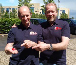 Tim et Chris Stamper en 2016, lors de la création de la société FortuneFish de leur fils et neveu, Joe Stamper